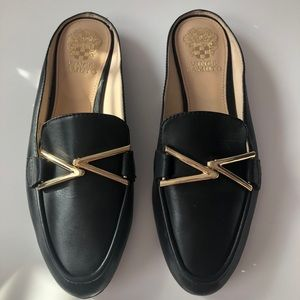Vince Camuto Black Leather Loafer Slides
